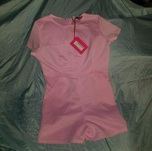 Boohoo pink capped sleeve romper